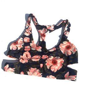 Tori Praver Seafoam Floral Racerback Bikini Top
